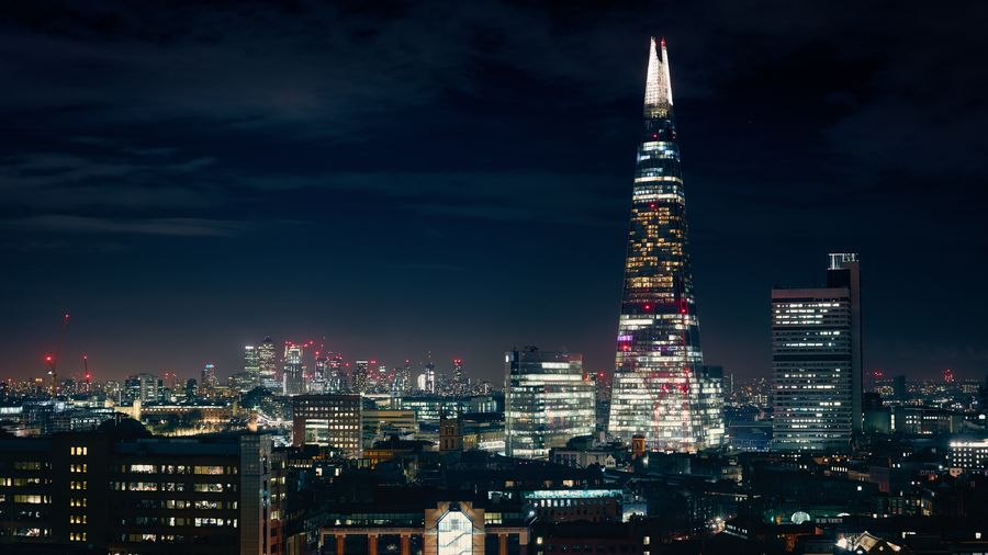 Gotham London Europe Tall Night Lights City London The Shard, London Sky Office Building Exterior Cityscape Tower Travel Destinations Urban Skyline Landscape Office Financial District  Modern No People Skyscraper Tall - High
