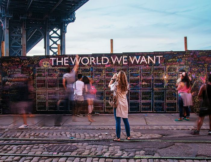 THE WORLD WE WANT Theworldwewant I Love My City New York Brooklyn DUMBO, Brooklyn I Heart New York Slow Shutter Photooftheday Pictureoftheday Newyorkcity