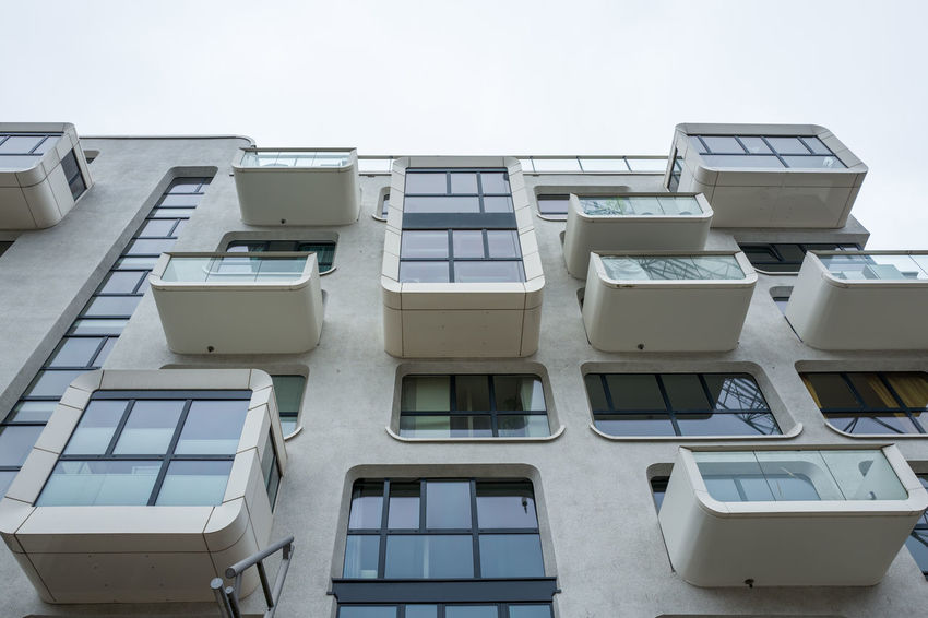 Hamburg Hafencity Hafencity Hamburg Apartment Architecture Balcony Building Building Exterior Built Structure City Clear Sky Day Glass - Material In A Row Low Angle View Nature No People Outdoors Residential District Side By Side Sky Technology White Color Window