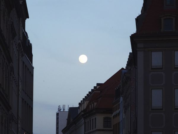 Moon Architecture Building Exterior No People Nature Low Angle View Outdoors Crescent Sky Night Half Moon Clear Sky Astronomy Dresden