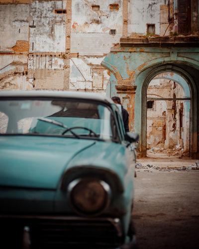 Old car in city