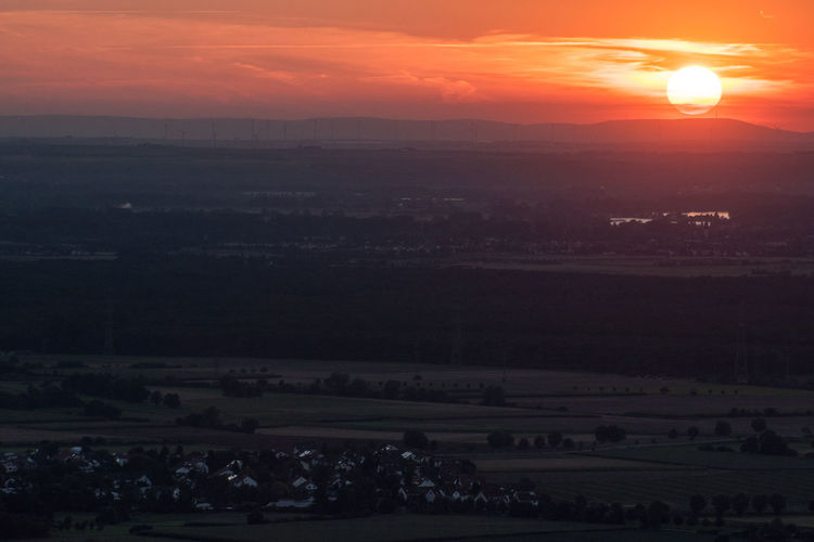 Aerial View Atmosphere Atmospheric Mood Distant Foggy Late Evening Late Evening Sky Misty Orange Sky Outdoor Outdoors Red Sky Sun Sunset