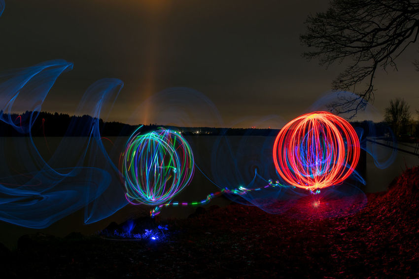 Orb Arts Culture And Entertainment Illuminated Light Painting Lightpainting Long Exposure Motion Multi Colored Night No People Outdoors Sky Speed Waterfront Westerwald Wire Wool