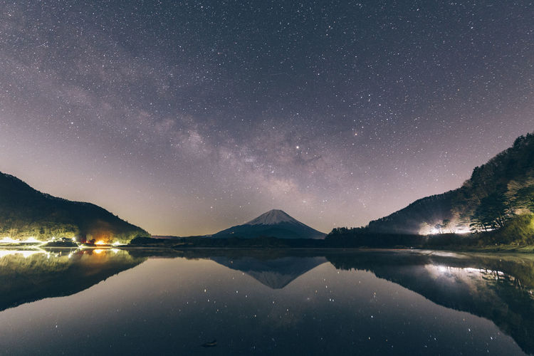 Scenics - Nature Beauty In Nature Reflection Sky Water Tranquility Tranquil Scene Star - Space Mountain Lake Night Waterfront Astronomy Idyllic Star Space Galaxy Nature Non-urban Scene Mountain Range No People