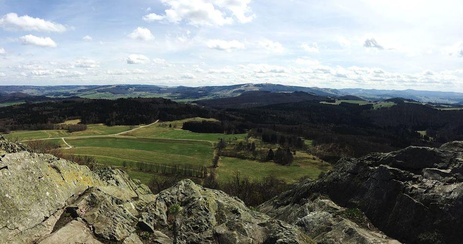 Blick auf die Wasserkuppe Rhön Hochrhön Milseburg Deutschland