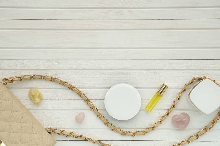 High angle view of seashells on table