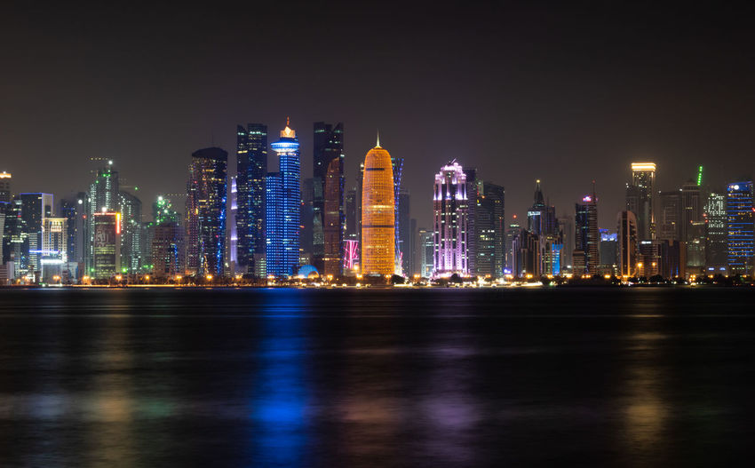 The doha skyline at night.