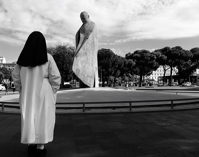 Who's better than you? Sculpture Statue Sky Monument Cloud - Sky Travelling Italy City Life Rome Cloud History Journey Roma City Street Rome Italy Romestreets Blackandwhite Scenics Traveller Daily Life Dailyphoto Sister Pope John Paul II Sculpture Pope John-Paul II