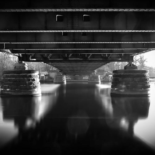 Reflection of bridge in water on table