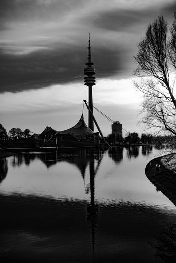 Atmosphere Black & White Black And White Blackandwhite Blackandwhite Photography Bluebaron Cityscapes Dawn Of A New Day Eye4black&white  Eye4photography  EyeEm Best Shots Munich München Olympiaturm Park - Man Made Space Reflection Scenic Showcase April Springtime Sunrise Thebluebaron Tower Water Reflections Welcome To Black