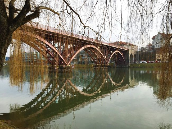 Maribor Slovenia Brige Photo Reflection Bridge River Built Structure Metalstructure Arquitecture Architecture Tranquility No People Outdoors Water