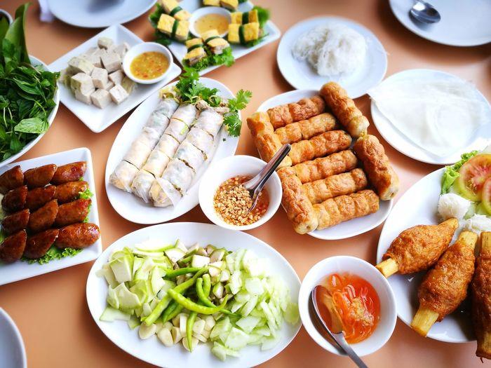 High angle view of asian food on table