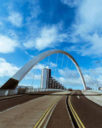 Bridge Glasgow  Elevated Road Multiple Lane Highway Cable-stayed Bridge Suspension Bridge Overpass Road Intersection Highway Two Lane Highway Road Marking Traffic Urban Road Steel Cable Chain Bridge