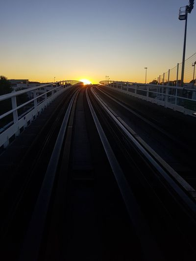 Railroad Track Sunset Transportation Travel No People Outdoors Travel Destinations City Sky Straight Tube Tracks