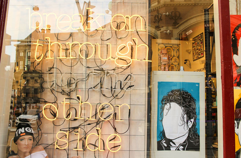 'Break on through to the other side' Amsterdam Michael Jackson Netherlands Reflection The Doors Amsterdamcity Break Through Day Daylight Glass Hipster Neon Neon Lights Other Side Retail  Store Store Window Urban Window Yellow