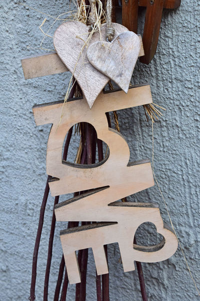 Two wooden heart and love sign Celebration Close-up Day Grange Hanging Heart Hearts Interior Interior Decorating Interior Design Love No People Romantic Romantic❤ Rustic Rusty Street Art Street Photography Streetphotography Valentine's Day  Wood Wood - Material Wooden