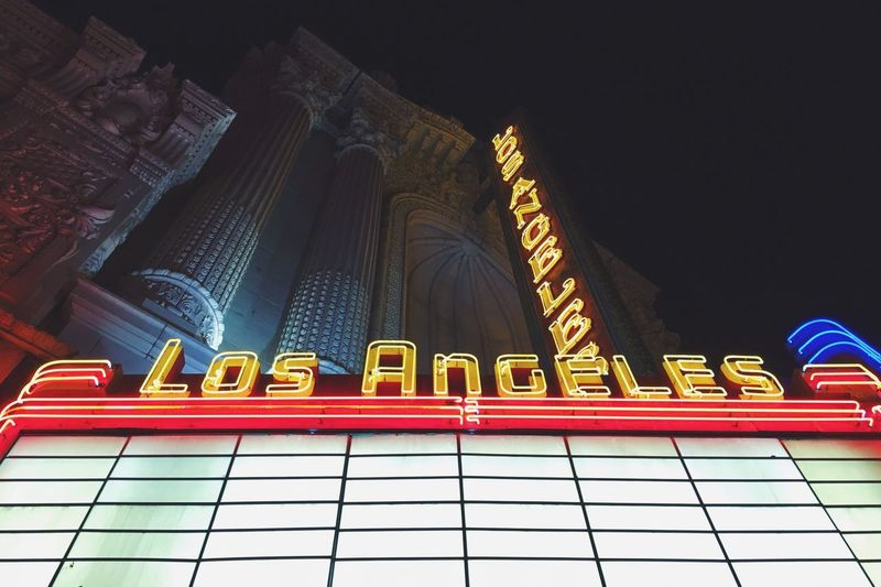 Downtown Los Angeles Architecture Low Angle View Building Exterior Built Structure Text No People City Night Illuminated Outdoors Sky
