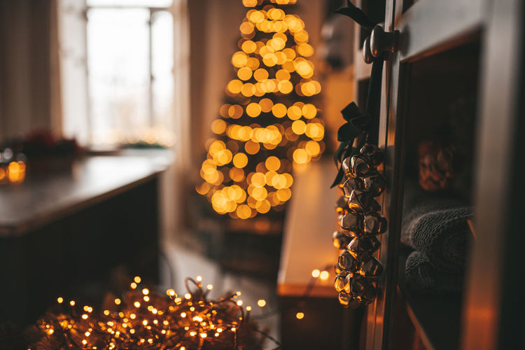 Illuminated christmas lights at home