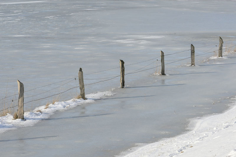 Wooden posts on snow covered land