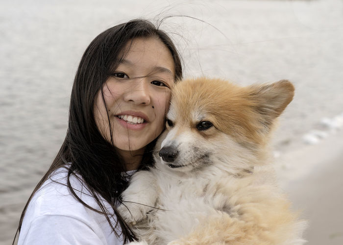Portrait of girl with dog