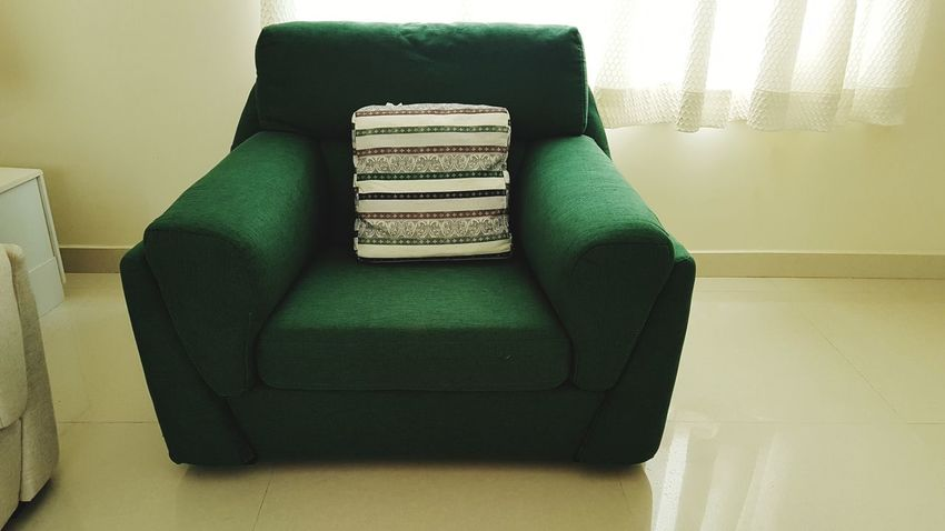 Green Color Indoors  Fashion Retro Styled No People Home Interior Winter Wool Day c Couch Sofa e Empty Seat