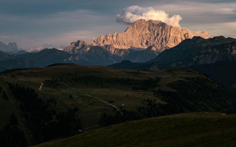 Monte civetta view in the sunset - val badia - alto adige sudtirol