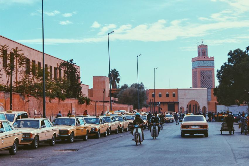 Architecture Car City City Life City Street Cloud - Sky Day Mode Of Transport Morocco Motorcycles Outdoors Parking People Road Sky Street Taxi Traffic Tree