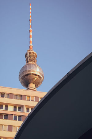 Fernsehturm Berlin  Architecture Building Exterior Built Structure City Clear Sky Communication Day Lines And Shapes Low Angle View Modern No People Tall Tall - High Television Tower Tower