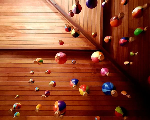 Wood - Material Directly Above No People Multi Colored Indoors  Childhood Day Space Close-up Popular The Week On EyeEem Baloons Baloon On Air Looking Up Beautifully Organized Let's Go. Together.