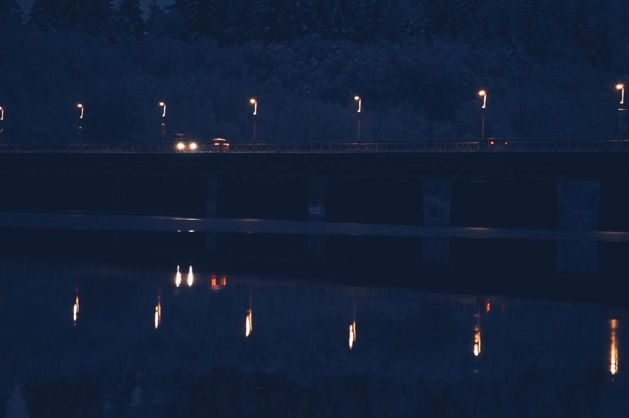 Reflections of clarity Winter Snow Traffic Cars Bridge Blue Reflection Night Lights Light Outdoors Sky No People Water