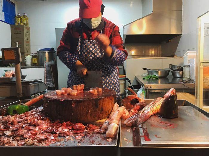 Food Meat Fish Market People