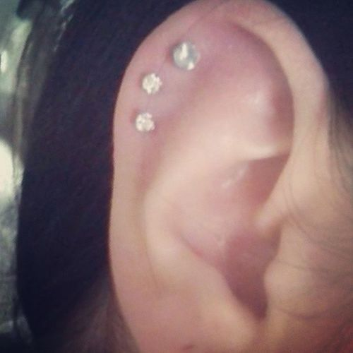 Got two more cartilage piercings done!~ Thanksmom  Threecartilage Piercing Iloveit