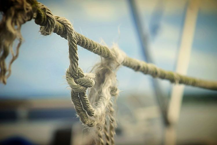 Close-up of rope on fisherman boats