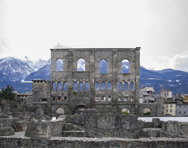 Aosta Italia Rom Roma Rome Ancient Civilization Aostavalley Architecture Built Structure History Italy Mountain Roman Snow The Past Theatre Tourism Travel Destinations