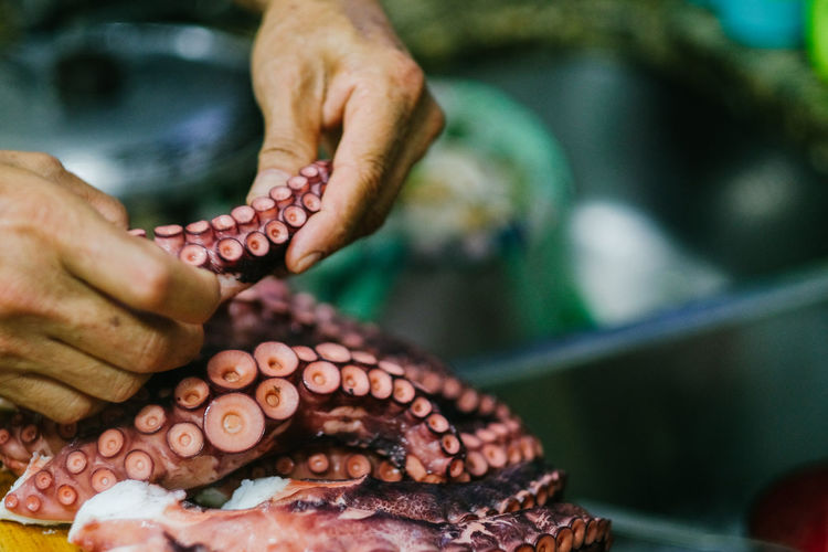 Tako sashimi - Octopus sashimi Human Hand Hand Human Body Part Food Body Part Food And Drink Freshness Healthy Eating Octopus Seafood Real People Finger Day Cooking Chef Cooking At Home Sashimi  Sashimi Dish Tako Brazilian Japanese Japanese Food