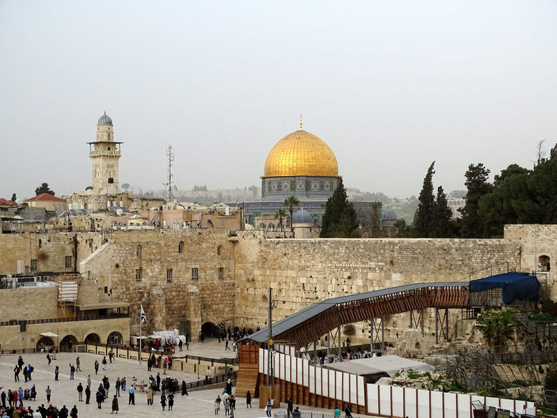 Panorama Travel Destinations Dome Of The Rock Tempel Mount Orthodox Jews Western Wall Kotel Bar Mitzah Men Orthodox Jews Israel Wailing Wall Jerusalem Western Wall Of Jerusalem Bar Mitzvah Torah Praying