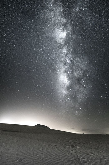Milky Way above dunes in Fuerteventura Milky Way Stars Astronomy Astrophotography Galaxy Desert Dunes Light Pollution Clouds Sky Night Nature Landscape Sand Footsteps