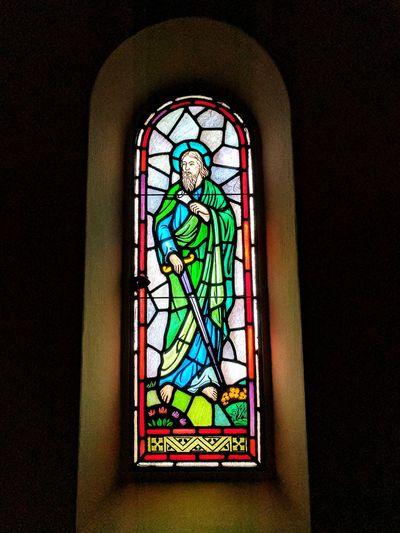 Multi colored window in temple