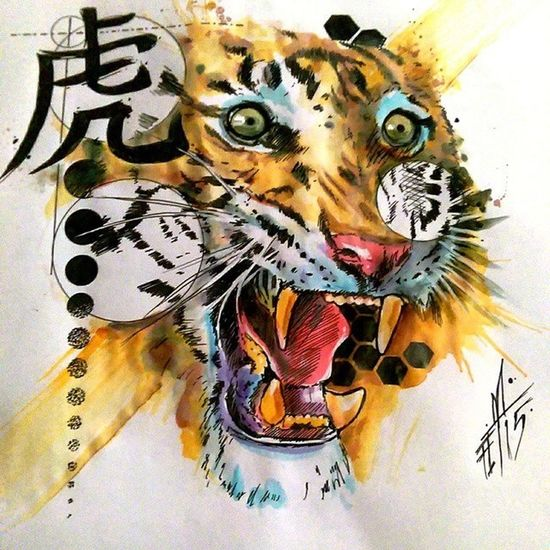 Tiger Fullcustomtattoo Mrttattoo Freehand Check This Out Torstenmatthes Tattooartist  Watercolor Painting