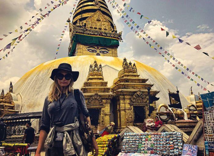 Swayambhunath Monkeytemple Nepal Kathmandu Human Representation Statue Sky Architecture Spirituality Religion Built Structure Standing Building Exterior Place Of Worship Low Angle View Travel Destinations Budism History Ancient Exploration Lifestyles Nepalese Culture Women Ancient Civilization
