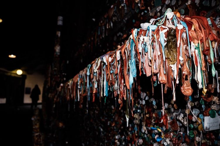 Close-up of gum wall in building