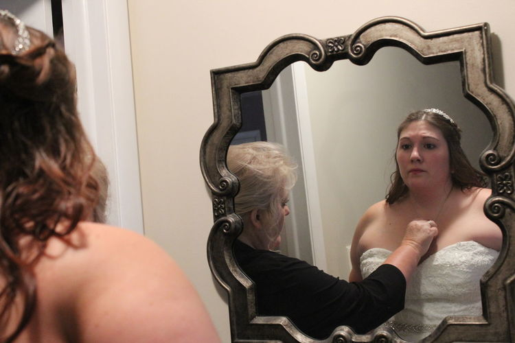 Mirror Indoors  Two People Adult Young Women Young Adult People Day Mother Daughter  Wedding Day Bonding Nervous Bride Worried Face Candid Photography
