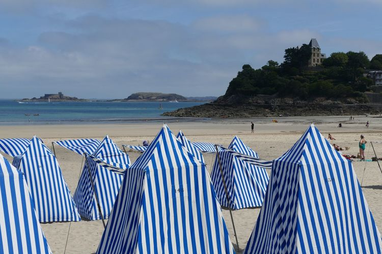 Beach Striped Sand Canopy Vacations Blue Beach Photography Beach View Beach Time Beach Tent Dinard Brittany France Cloud - Sky