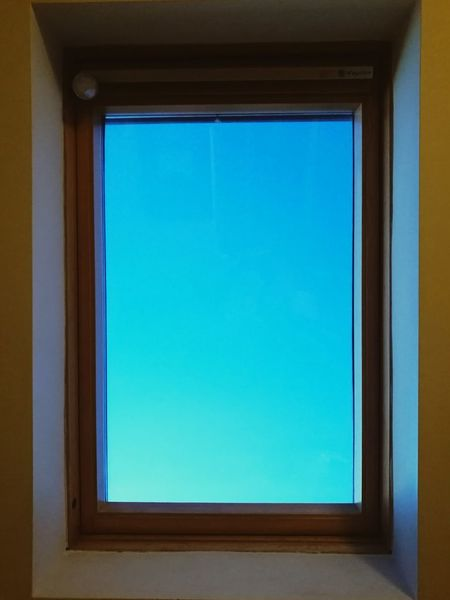 Blue Window No People Sky Day Indoors  Close-up Sky Blue Portal Evening Sky Why Not? Hello World