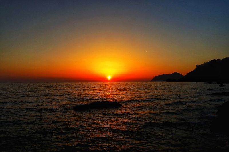 Sky Sunset Water Scenics - Nature Sea Beauty In Nature Tranquil Scene Horizon Over Water Waterfront Orange Color Tranquility