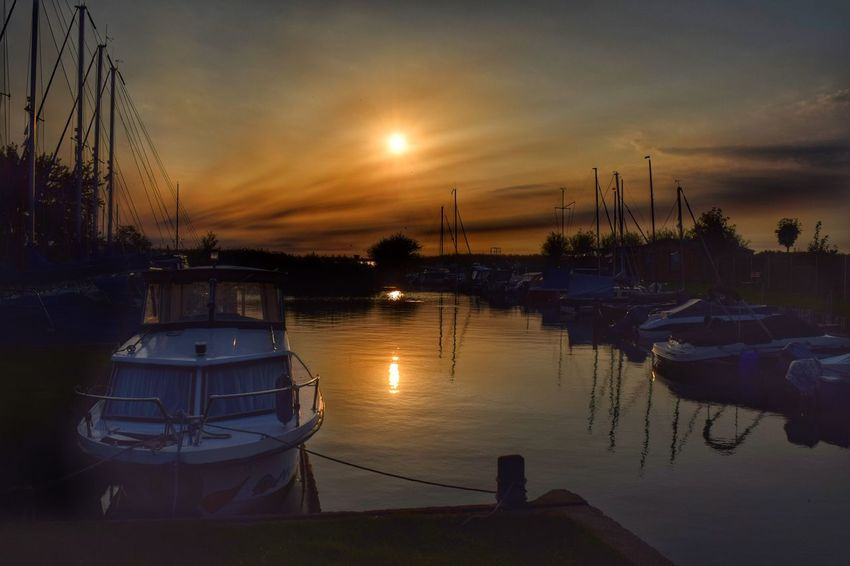 Sunset Transportation Water Reflection Boat Cloud Sky Harbor Tranquility Sun Sea Calm Nature Landscape Waterfront Achterwasser Usedom NIKON D5300 Moored Sailboat EyeEm Best Shots Marina