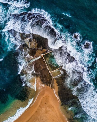 Drone view of sea