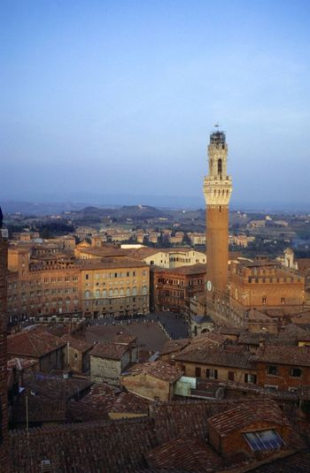 Architecture Built Structure Building Exterior History Travel Destinations No People Outdoors Day Sky City Cityscape Torre Del Mangia Piazza Del Campo Umbra Roofs