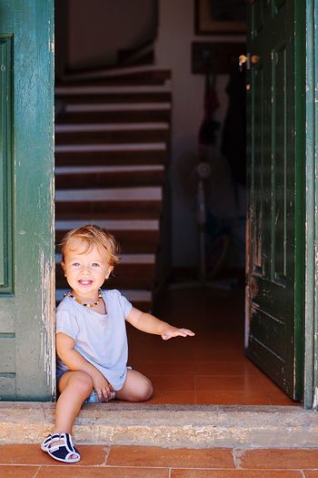 AJ and the invisible cat Happiness Rome Italy Summer Child Childhood Baby One Person Full Length Young Holiday Moments Toddler  Babyhood Cute Offspring Door Indoors  Entrance Innocence Baby Clothing Real People Looking