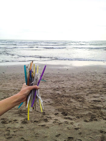 Beach Beachcleanup Breakfree Holding Horizon Over Water Human Hand My Hands My View Nature Perpective Sand Sea Straw Water
